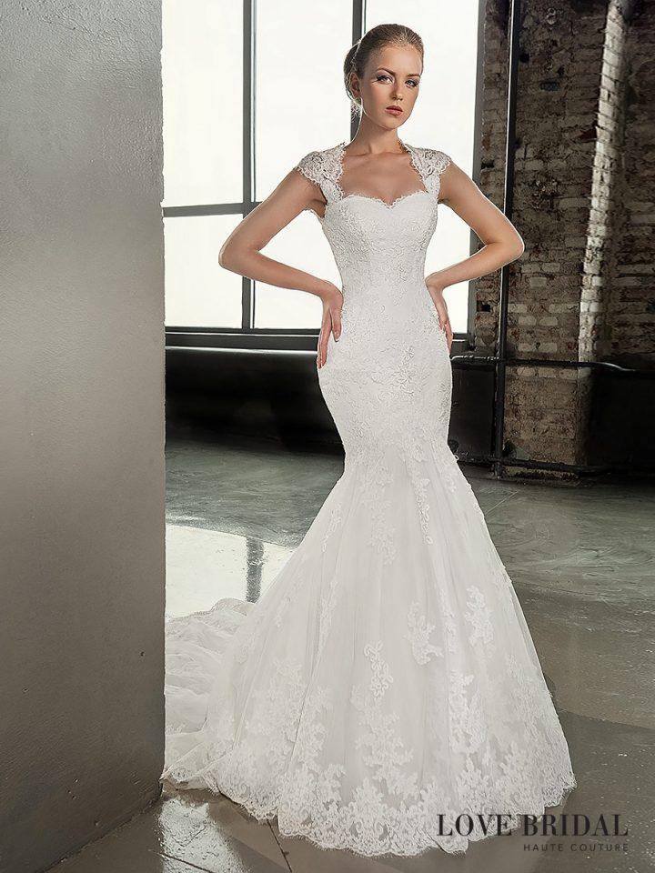 Купить кружевное свадебное платье русалка Love Bridal со шлейфом