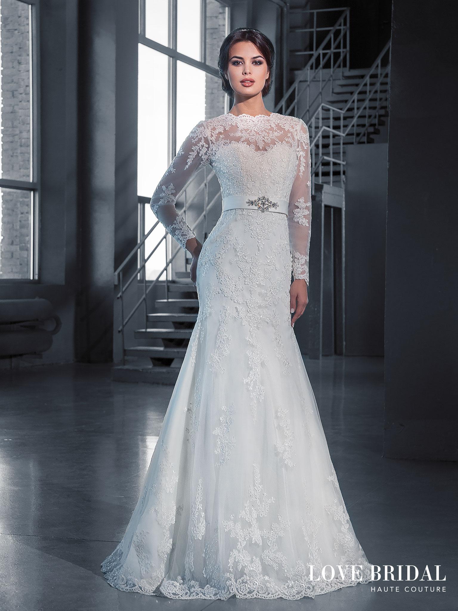 Купить круженое свадебное платье с рукавом Love Bridal арт.14214