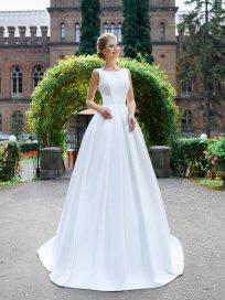 Купить свадебное платье а-силуэт закрытое микадо