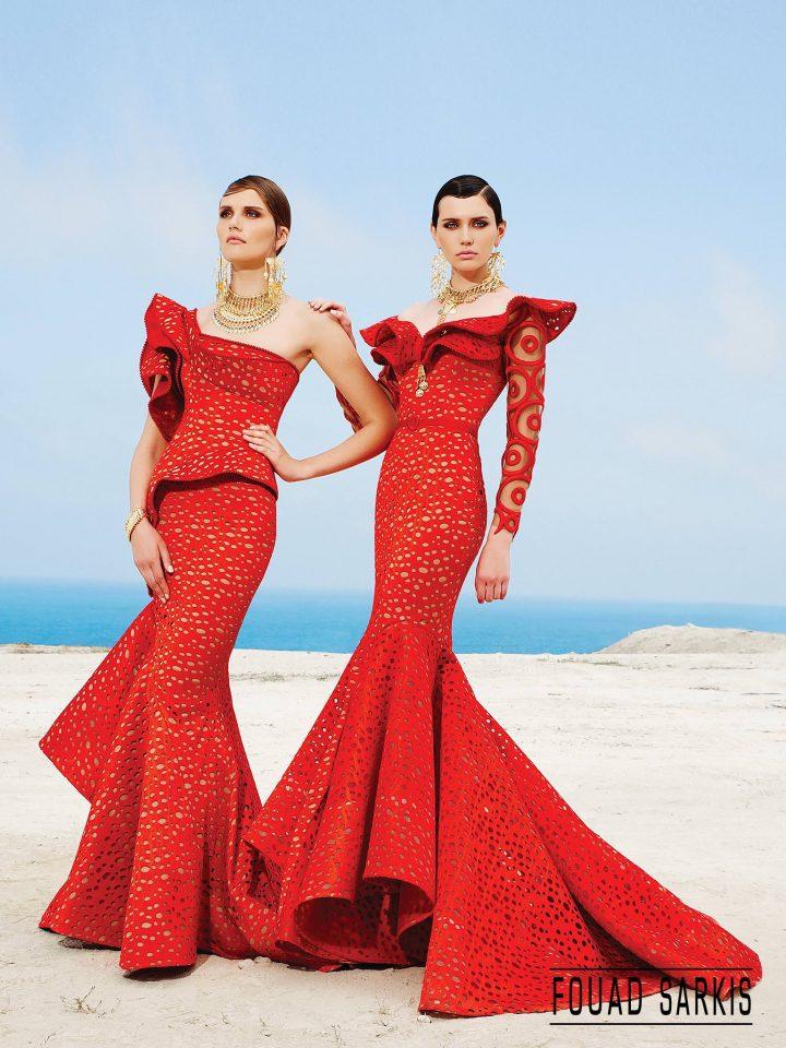 Купить вечернее платье с баской Fouad Sarkis арт.3455
