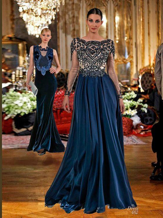 Расшитое закрытое вечернее платье с рукавами от Faust