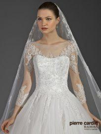 Свадебное платье пышное расшитое с рукавами Pierre cardin (арт.8654)