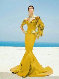 Купить вечернее платье с рукавами Fouad Sarkis русалка, кружево со шлейфом арт.(3440)