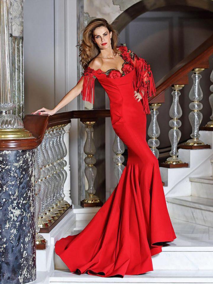 Купить вечернее платье с рукавами Fouad Sarkis русалка кружево арт.(3440)