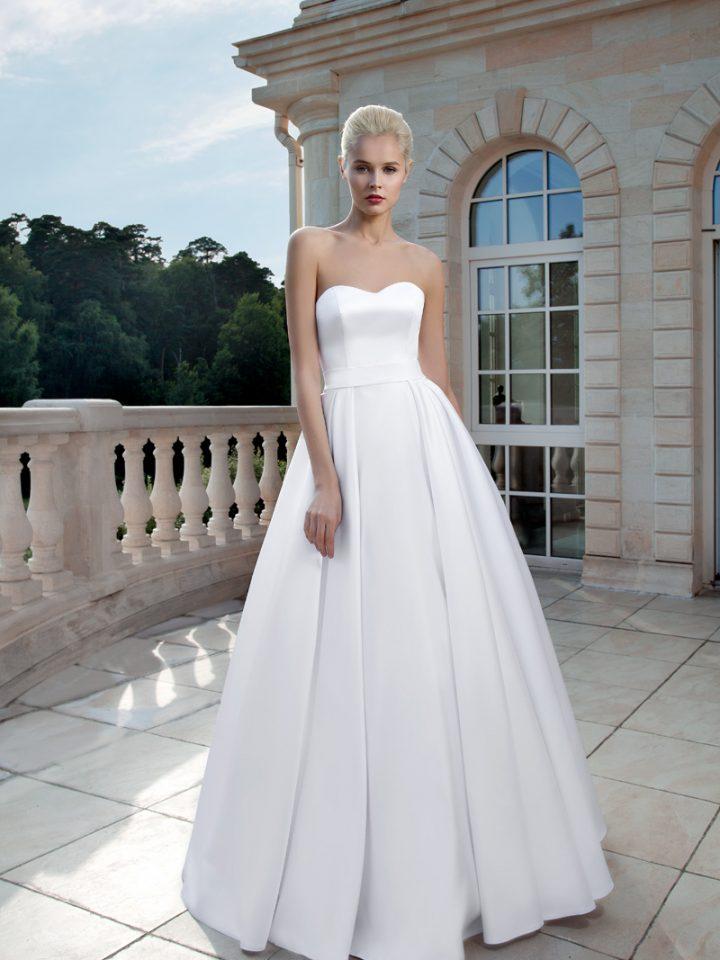 Атласное открытое свадебное платье Olga Sposa