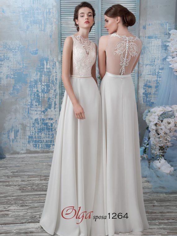 прямое свадебное платье с кружевной спинкой