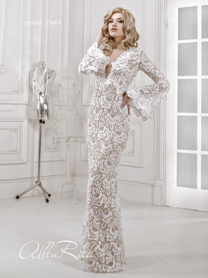 Кружевное свадебное платье с рукавами Allen Rich